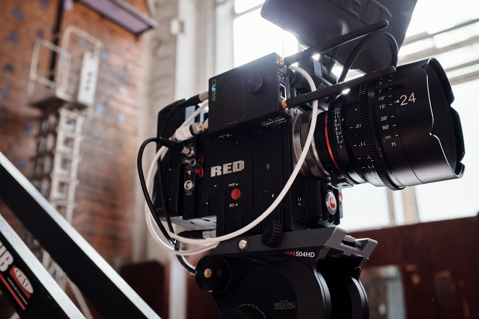 A Red camera and filmmaker's equipment