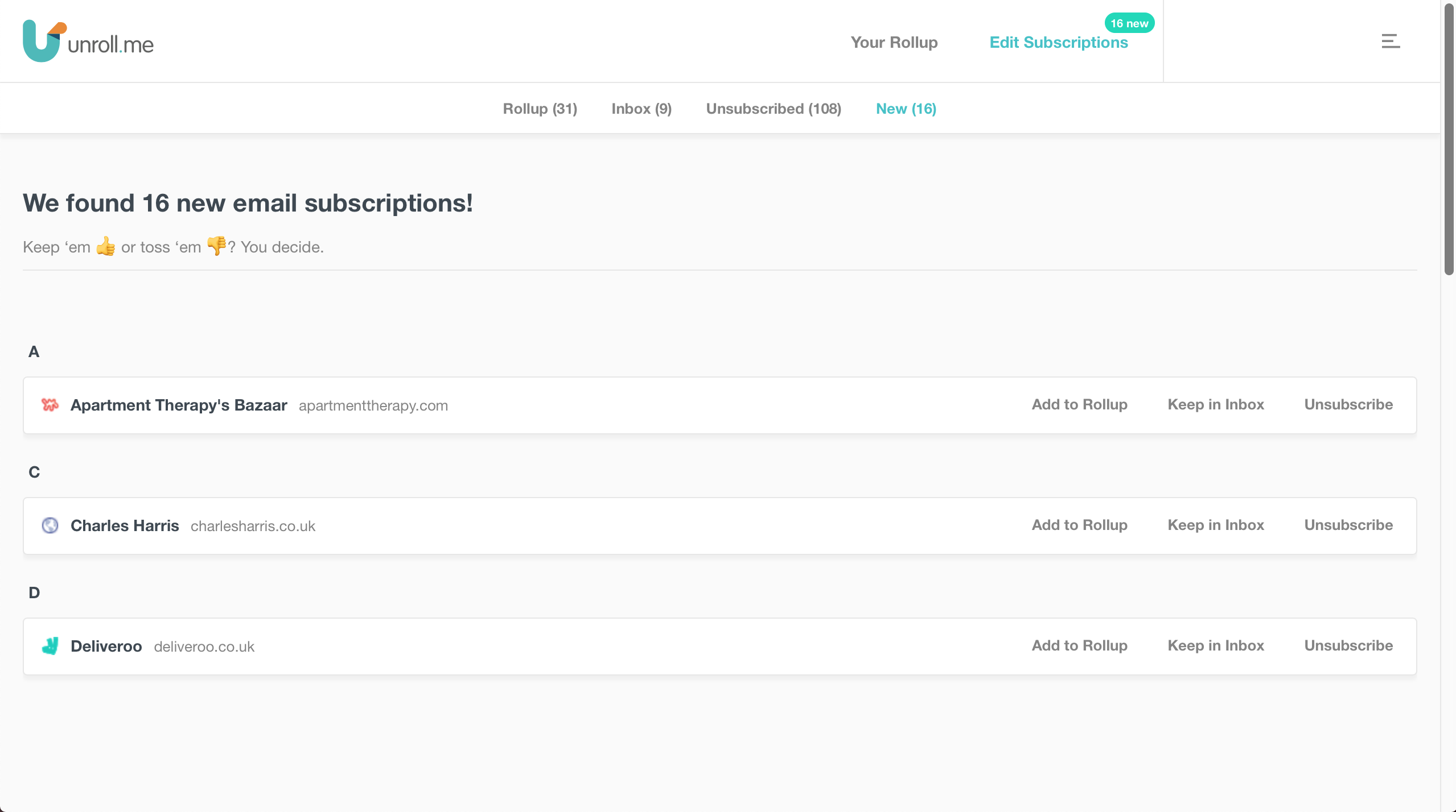 Unroll.Me makes it simple to clear your inbox.
