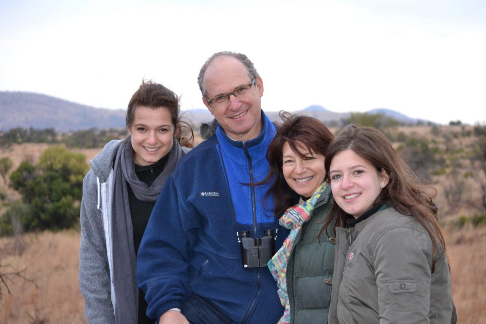 Author Jeff Ginsberg and his daughters on a trip to the African bush